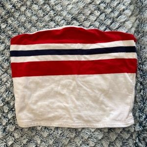 blue and red striped tube top from garage